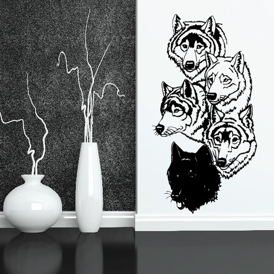 Five Wolf Heads Decal