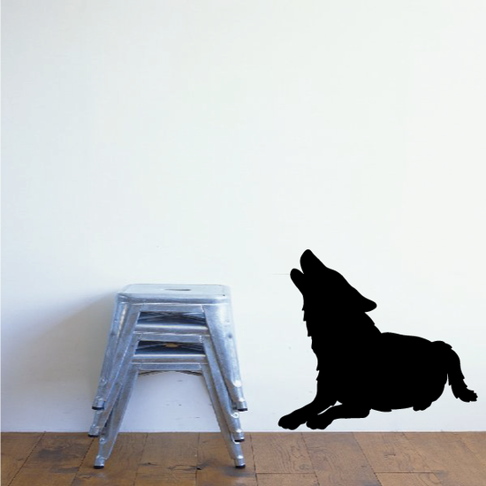 Sitting Down Wolf Howling Decals