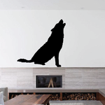 Graceful Sitting Wolf Howl Decal