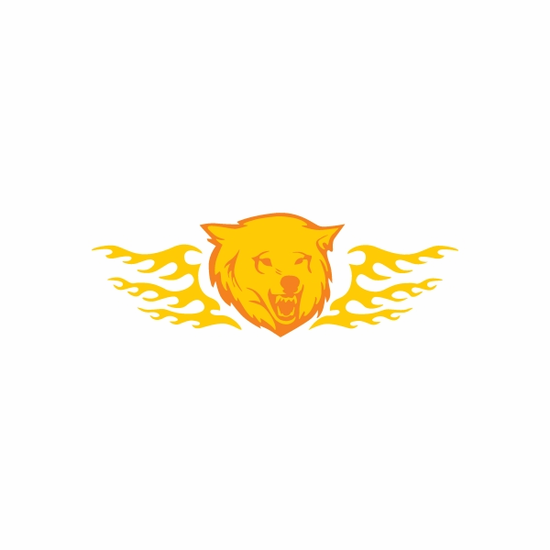 Fire Wings Wolf Head Sticker