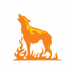 Fire Ground Wolf Howling Decal
