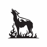 Wolf and Flaming Ground Decal
