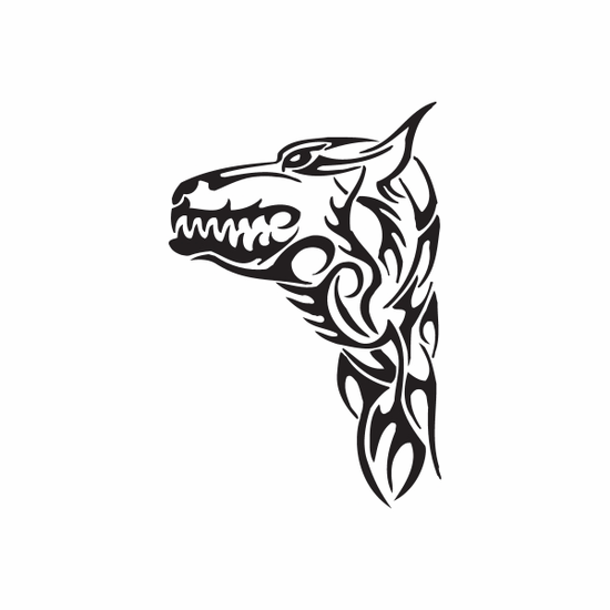Tribal Grimacing Wolf Head Decal