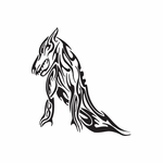 Tribal Reclining Wolf Decal