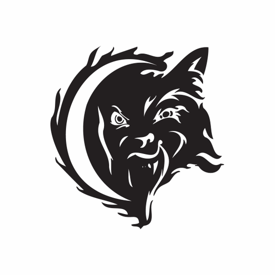 Tongue Out Wolf and Moon Decal