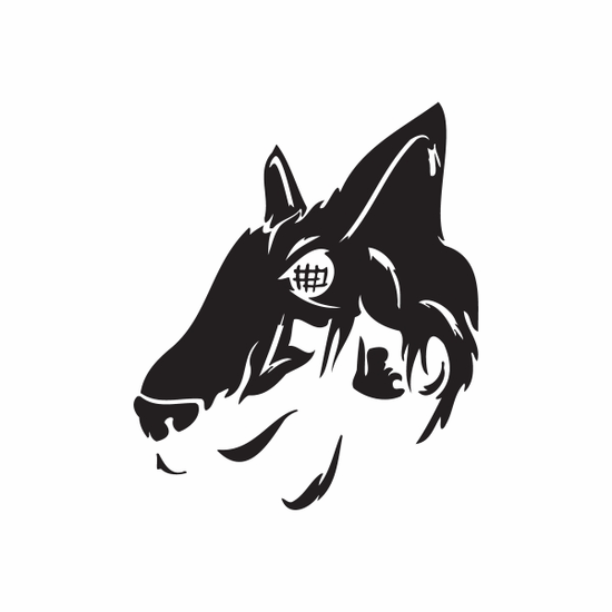 Abstract Looming Wolf Head Decal