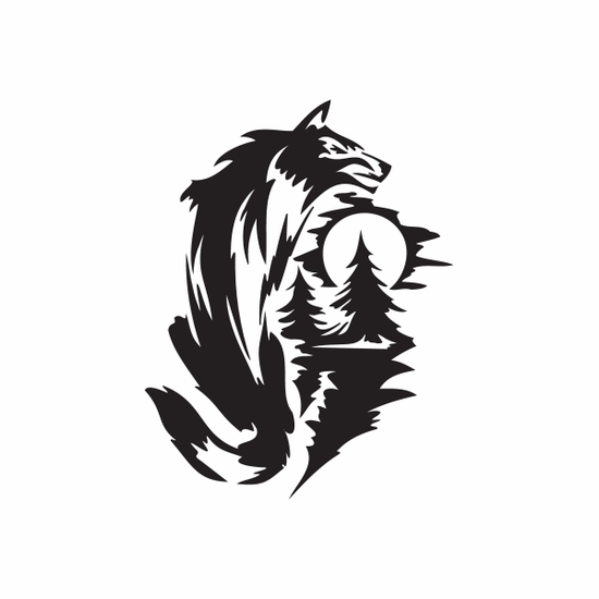Wolf and Moon Forest Decal
