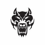 Ornate Wolf Head Decal