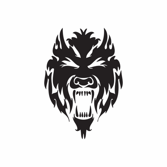 Thundering Howling Wolf Head Decal