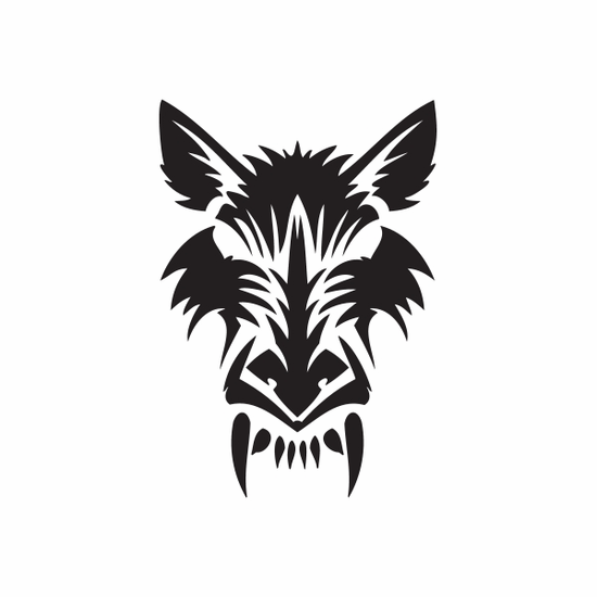 Carved Style Wolf Head Decal