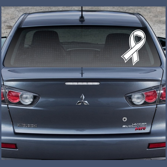 Heart Ribbon Outlined Decal