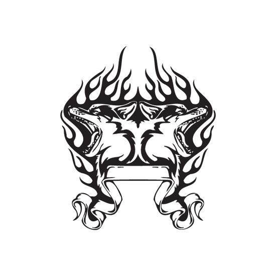 Timber Wolf Heads and Flames Decal