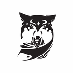 Snarling Wolf and Scarf Decal