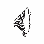 Native Wolf Howling Decal