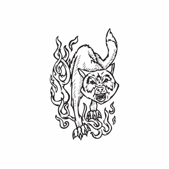 Hissing Hell Cat Decal