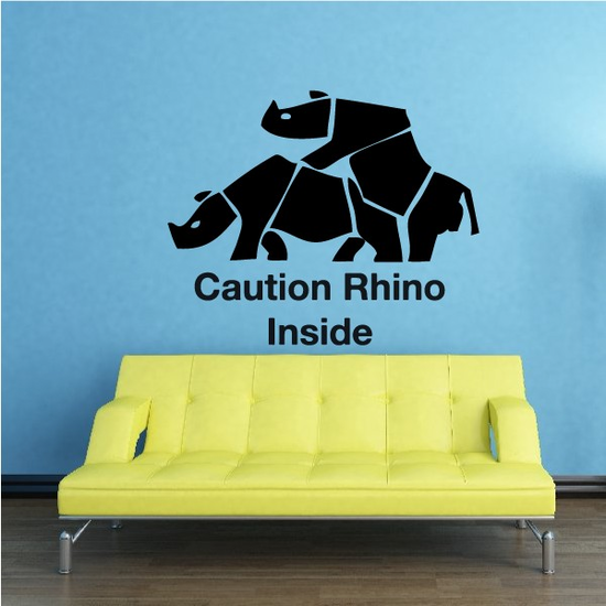 Caution Rhino Inside Stacked Decal