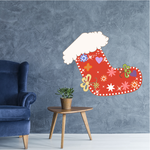Colorful Decorated Stocking Printed Die Cut Decal
