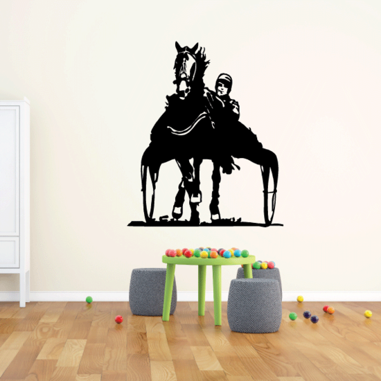 Horse Trotting with Wagon Decal