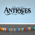 Antiques Wall Decal - Vinyl Decal - Car Decal - Business Sign - MC536
