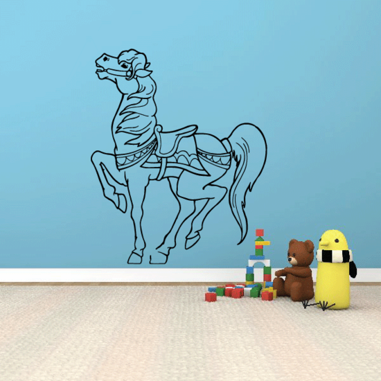 Standing Fancy Neighing Horse Decal