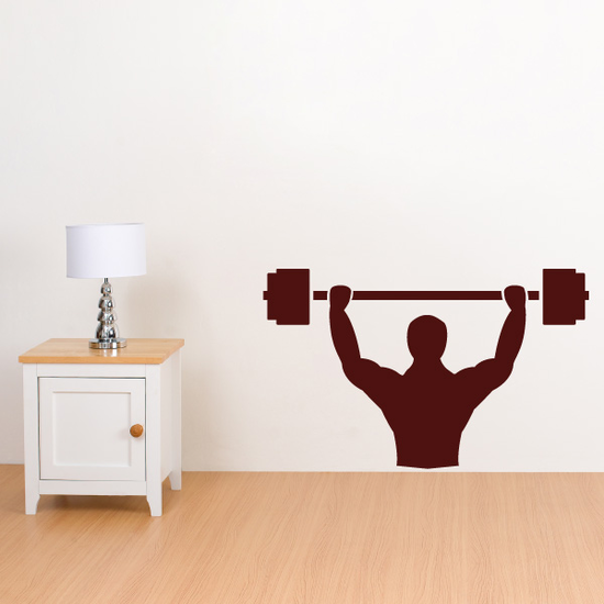 Muscular Man Lifting Weights Decal