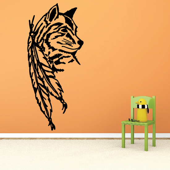 Feathers and Wolf Decal