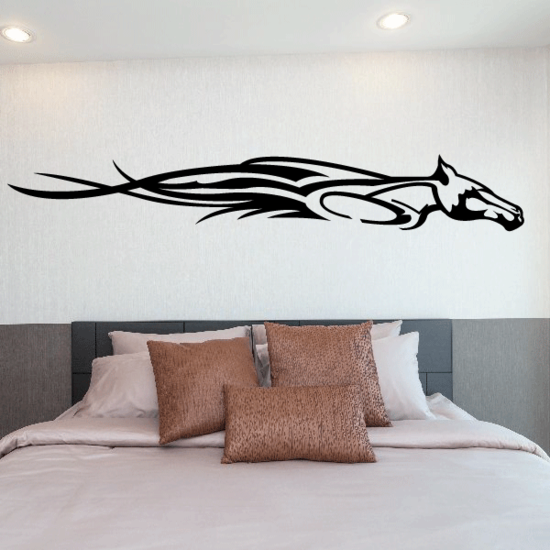 Flame Sprinting Horse head Decal