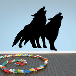 Two Wolves Howling Silhouette Decal