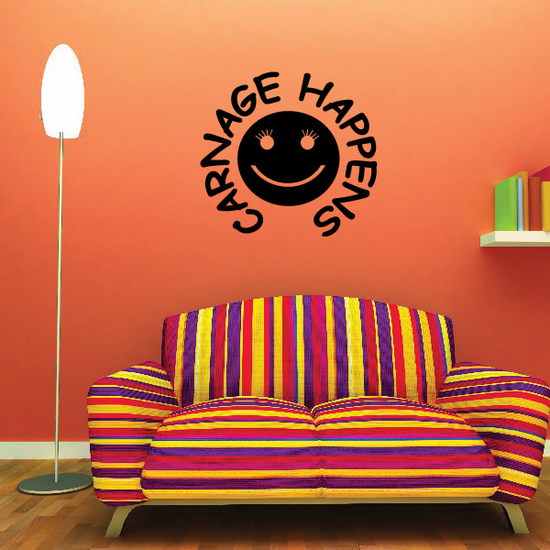 Carnage Happens Happy Face Decal