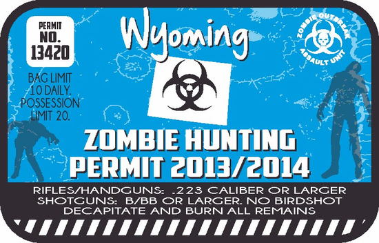 Wyoming Zombie Hunting Permit Sticker