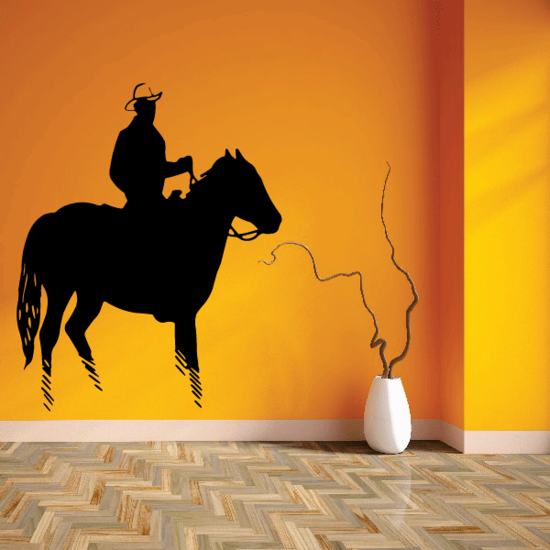 Western Riding Cowboy on Horse Decal
