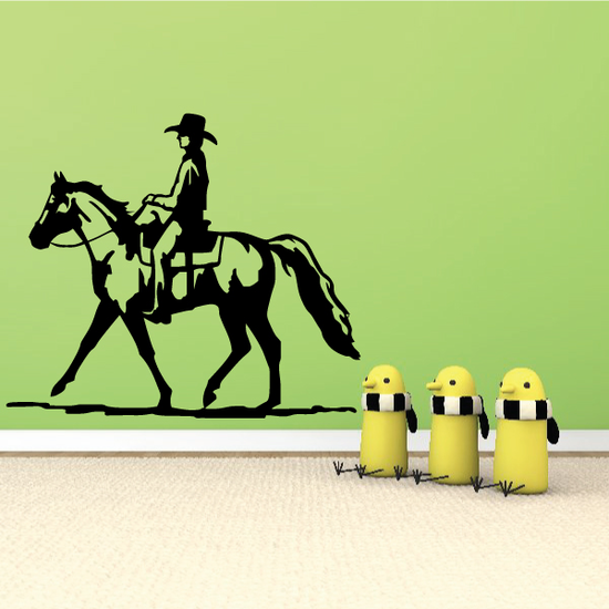 Steady Rodeo Cowboy Riding Horse Decal