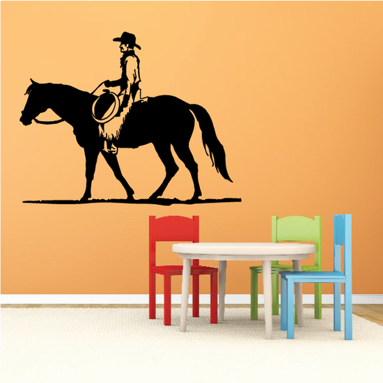 Peaceful Rodeo Cowboy Riding Horse Decal