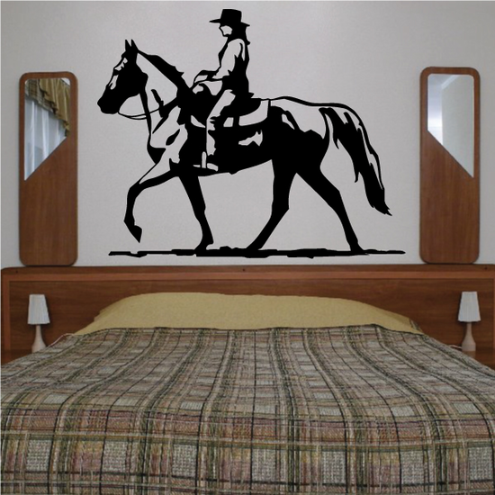 Western Rodeo Cowboy Riding Horse Decal
