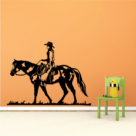 Lone Rodeo Cowboy Riding Horse Decal