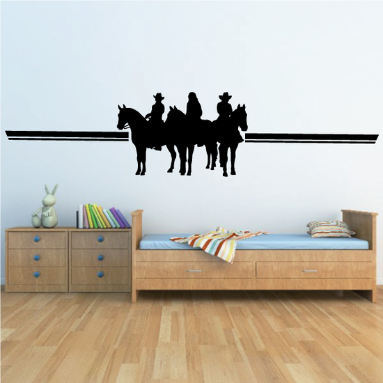 Three People Riding Horses with Horizon Decal