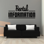 Rental Information Wall Decal - Vinyl Decal - Car Decal - Business Sign - MC751
