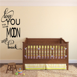 Love You to the Moon and Back Vertical Wall Decal
