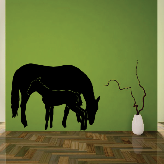Horse Grazing with Foal Decal