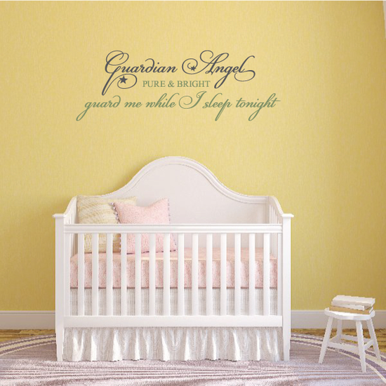 Guardian Angel Pure and Bright Guide me while I sleep Tonight Wall Decal