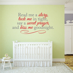 Read me a Story tuck me in tight say a sweet prayer Printed Die Cut Decal