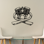 V-Twin Motor With Exhaust Decal