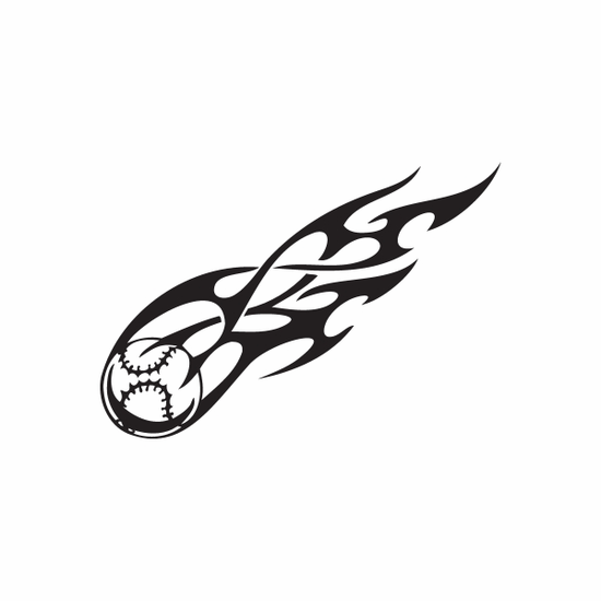 Flaming Softball Decal