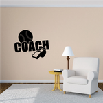 Coach Whistle and Softball Wall Decal - Vinyl Decal - Car Decal - Vd008