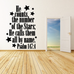 He Counts the number of the Stars He Calls them all by Name Psalm 147:4 Decal