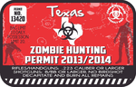 Texas Zombie Hunting Permit Sticker