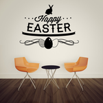 Happy Easter Bunny and Eggs Decal