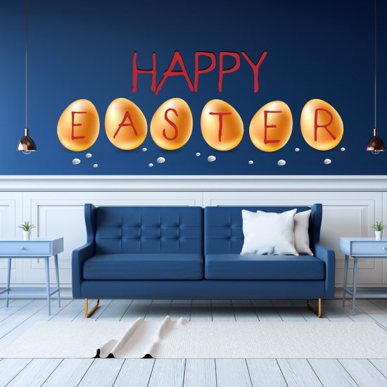 Happy Easter with Egg Letters Printed Die Cut Decal