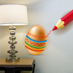 Easter Egg Decorated with Pencil Sticker