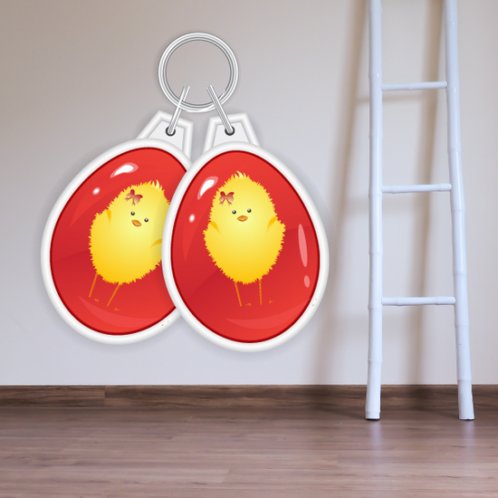 Double Easter Eggs with Baby Chicks Printed Die Cut Decal